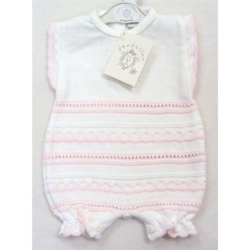 Gorgeous Baby Girl White Pink Stripe Knitted Romper